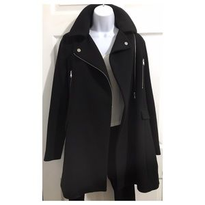 [ Z A R A ] Black Moto Style Zippered Coat